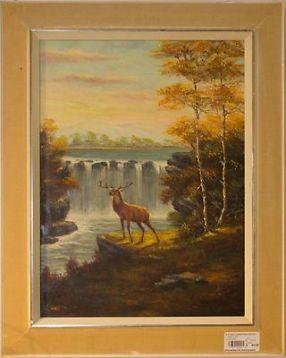 Vintage Retro schilderij landschap hert Vintage-street 109