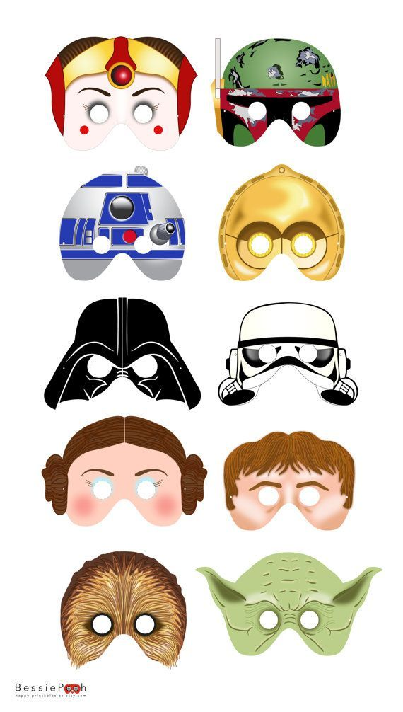 Printable STAR WARS masks. Instant Download PDF file. Star Wars party: