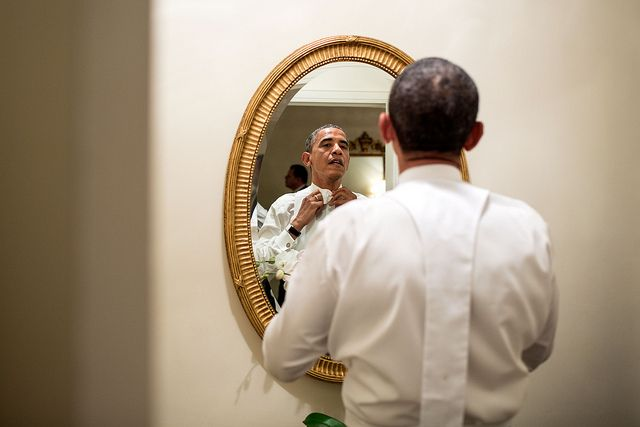"Oct. 18, 2012  ""The President ties his white tie before the Alfred E. Smith dinner in New York. Although the dinner is an annual event, every four years, the two presidential nominees attend the dinner only a few weeks before the election."" (Official White House Photo by Pete Souza)"