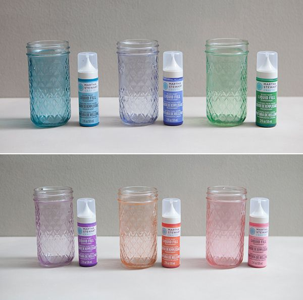 Martha Stewart paint beach glass jars-This paint needs to be shaken like a gallon paint can at Home Depot – no joke. After you buy these paints turn them upside down on your counter and let them sit for an hour or two, this lets all the paint pigment that has settled to the bottom of the tube work it's way back through the paint – then SHAKE before you are going to use the paint.