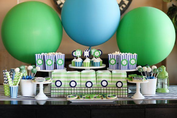 tommy's pool party :: dessert table by TomKat Studio: Boys Birthday Parties, Kids Birthday, Giant Balloon, Balloon Ideas, Blue Green, Parties Ideas, Pools Parties, Parties Desserts, Desserts Tables