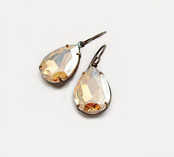 Light Colorado Topaz Rhinestone Earrings by laurenblythedesigns, $22.00