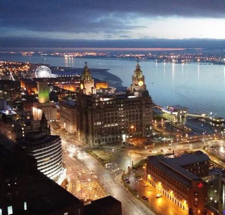 Liverpool Liver Buildings and Water front at night