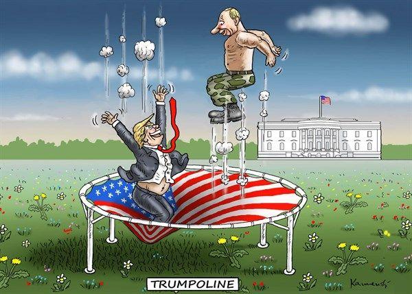 Marian Kamensky - Austria - Trumpoline - English - trump and putin,putin,trump,trampoline,jump