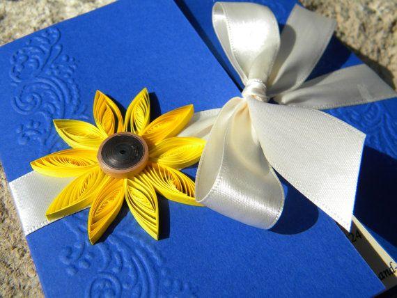 Sunflower and cobalt blue wedding invitation / от ancamilchis