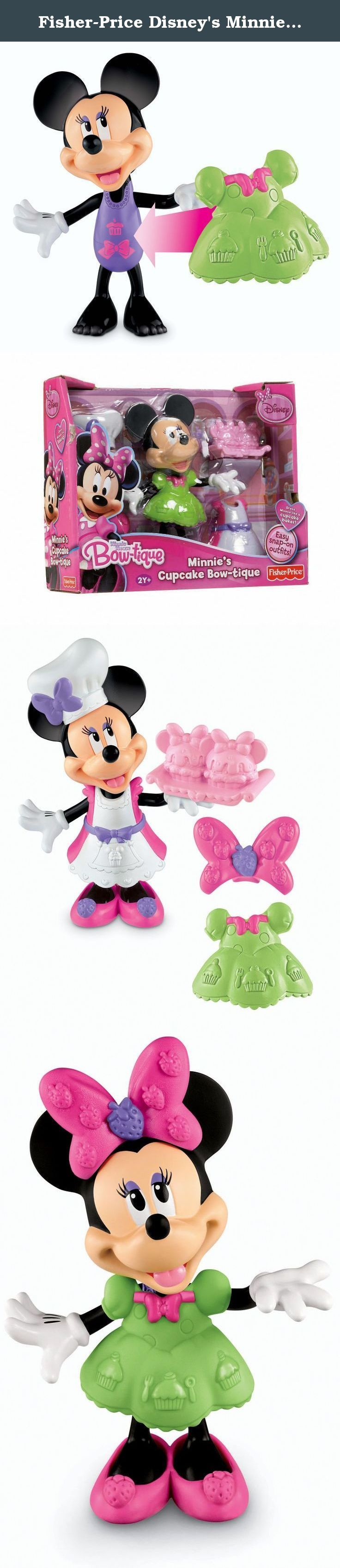 Fisher-Price Disney's Minnie's Cupcake Bowtique. Fisher Price Minnie Mouse Bow-Tique Minnie's Cupcake Bowtique Help Minnie look her best no matter what she's doing! Dress Minnie any way you want with her stylish snap and fit accessories! Each assortment comes with different themed outfits and accessories! Dress Minnie like a cupcake baker with Minnie's Cupcake Bow-tique! Comes with a Minnie figure and two easy snap-on outfits -- a pretty yellow dress, and a baker's apron to get Minnie…