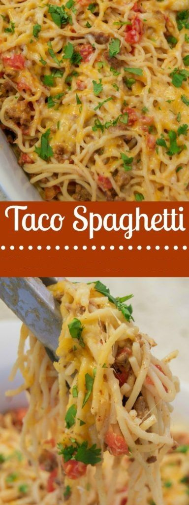 This easy, family friendly casserole, dotted with melty pockets of cheese, proves that tacos and spaghetti are a match made in heaven. Emm, This Taco Spaghetti Recipe is Delicious, Let me know what you think on the facebook comments ? ? You'Il Need: Ingredients: 1 tablespoon olive oil 1 pound grou…