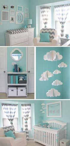 Habitación bebé decoración aguamarina y blanco