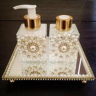 Lily-Baby-Shop: kits Super Luxo Aromatizador e Sabonete Liquido com Bandeja Decorado com Strass e Mini Perola