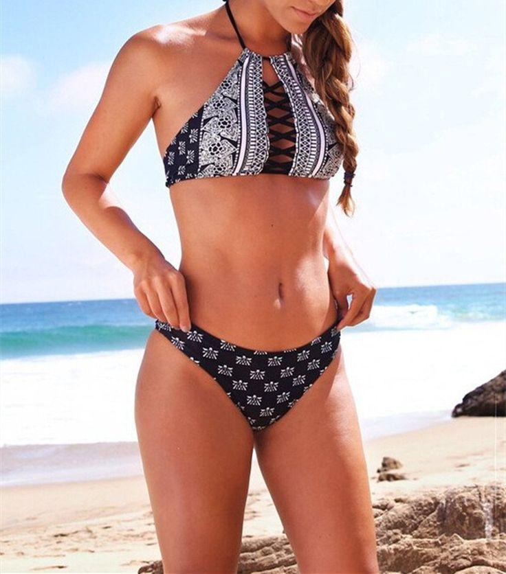 Women Brand Brazilian Bikini High Neck Swimwear