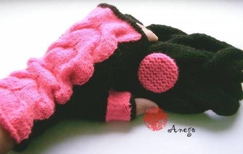 Митенки и шарф черно-розовые