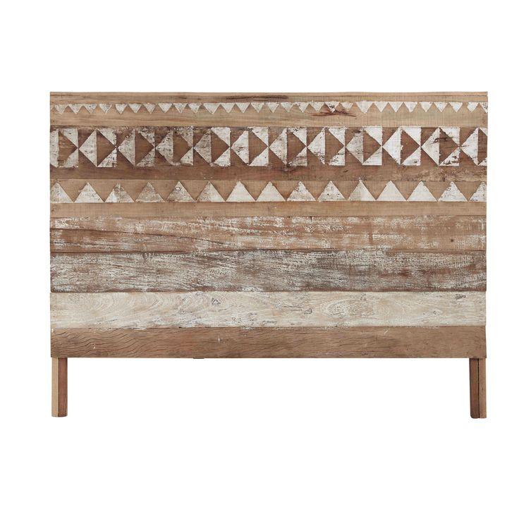 Cabecero con motivos de madera reciclada An. 160 cm Tikka
