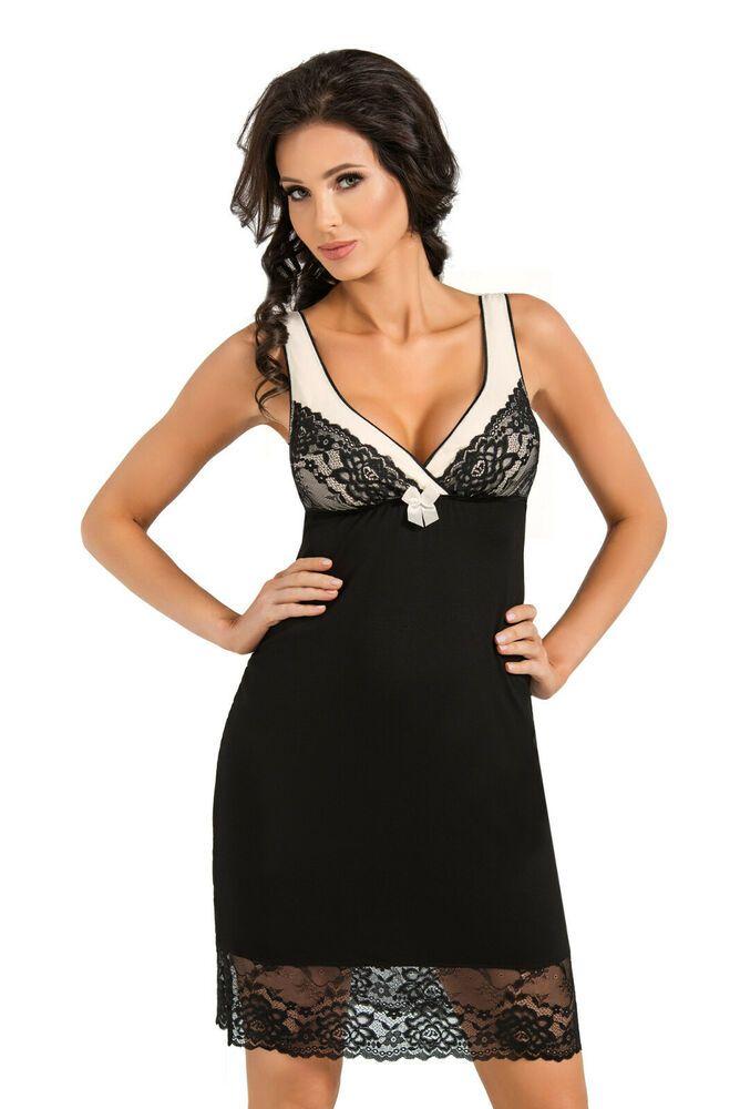 b41332c2ec57f Chemise de nuit sexy nuisette femme noire écru DONNA ROSA 36 38 40 42 44 46