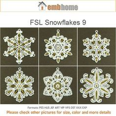 FSL Snowflakes 9 Free Standing Lace Christmas Ornament Machine Embroidery Designs Instant Download 4x4 hoop 10 designs APE1684