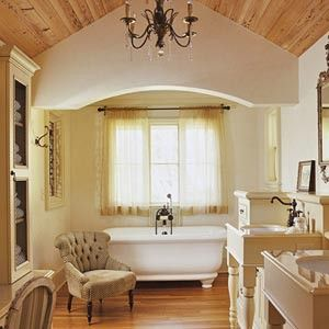 French Country DecorBathroom Design, Warm Colors, Country Bathroom, Dreams Bathroom, Country Decor, French Country, Wood Ceilings, Bathroom Ideas, Master Bathroom