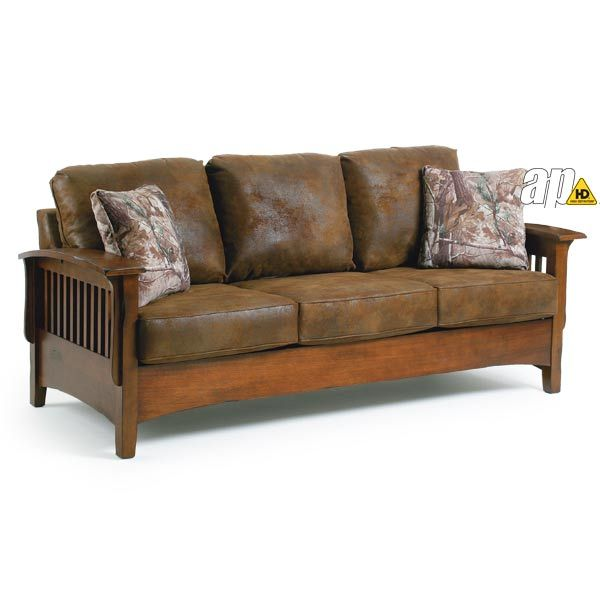 Westney Mission Style Sofa.  Leather looking microfiber with #camo pillows.  #Realtree #MossyOak