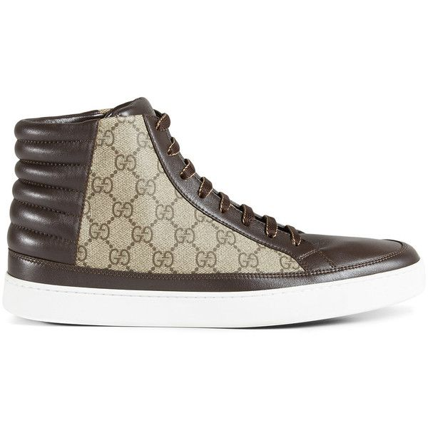 Gucci GG Supreme high-top sneaker ($580) ❤ liked on Polyvore featuring men's fashion, men's shoes, men's sneakers, brown, men's low top shoes, mens brown shoes, mens brown leather shoes, gucci mens sneakers and mens brown leather sneakers