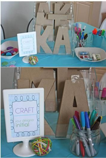 Older girls' crafting/creating party. Decorate cupcakes, decorating first initials...