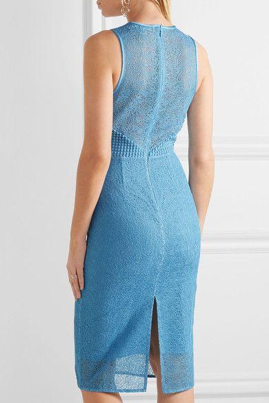 Diane von Furstenberg - Paneled Lace Dress - Blue - US14