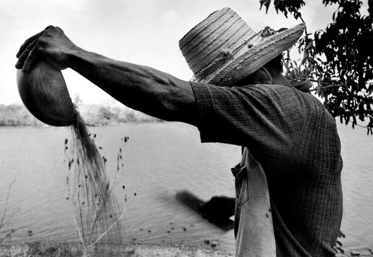Larry Towell - NICARAGUA. Solentiname Islands. 1984. A campesino peasant winnows wheat by hand with a fan and a coconut shell. The Solentiname Islands in Lake Nicaragua became famous for their style of peasant paintings.