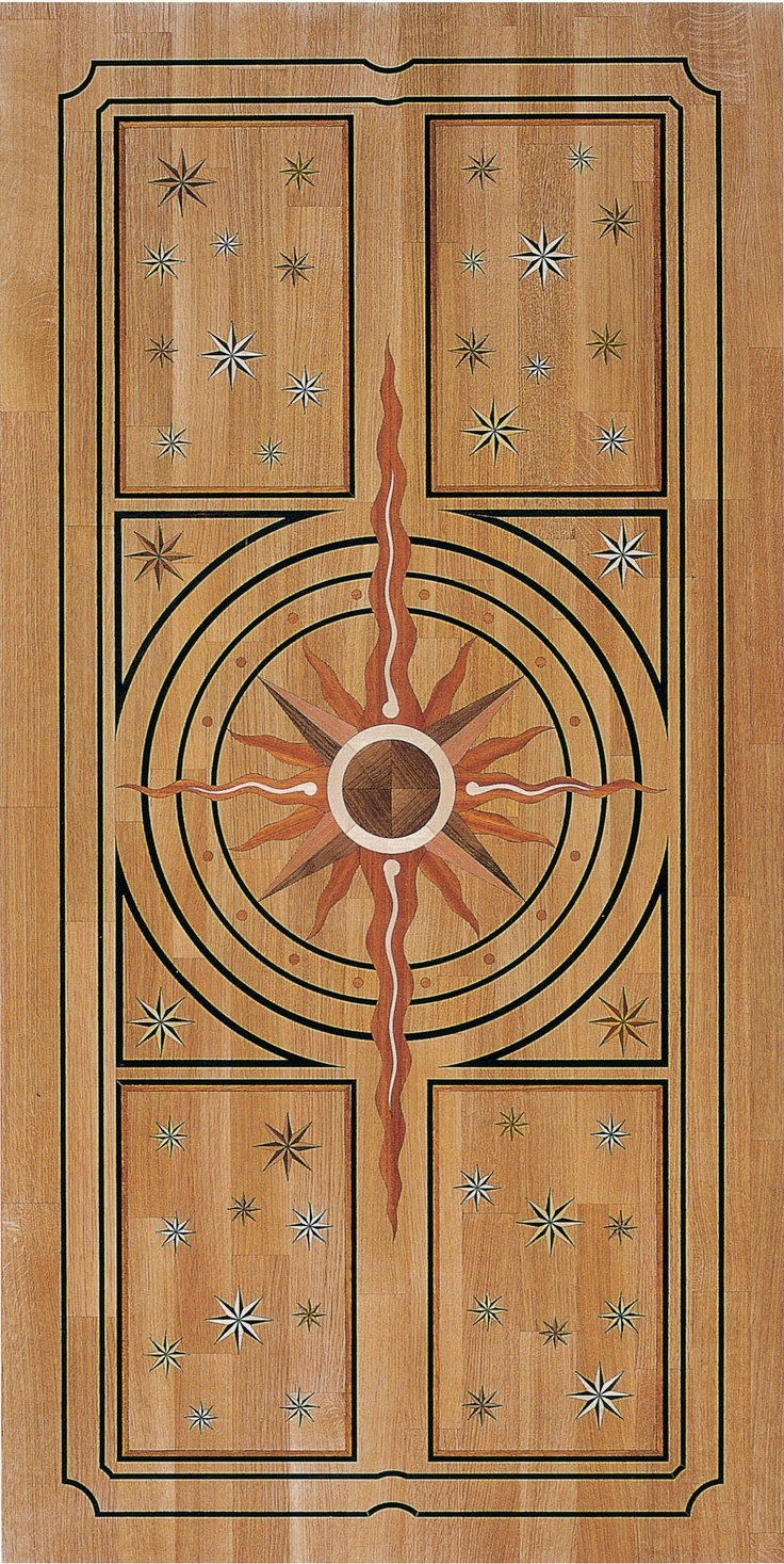 Wood Flooring Laser Inlays model De Medici. Background: oak;   inlays: wenge, doussie,   european walnut, american cherry, hard maple.    thickness: 14 mm  dimensions: 2010 x 1010 mm
