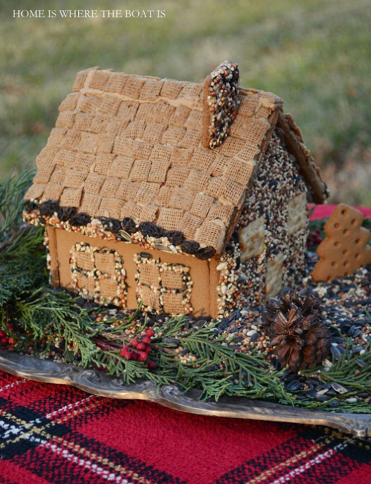 Create a Gingerbread House Bird Feeder - A fun, seasonal way to feed the birds, with a Gingerbread House Kit! I've been wheeling my shopping…
