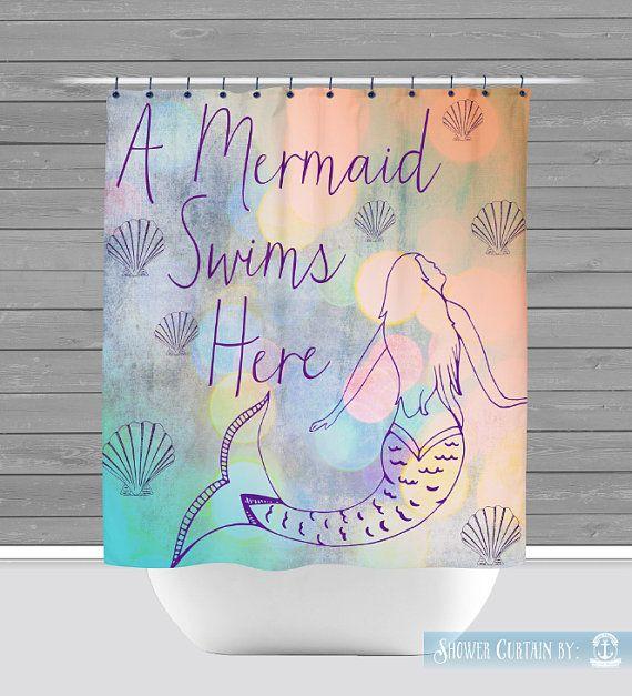 Mermaid Shower Curtain: A Mermaid Swims Here by BrandiFitzgerald