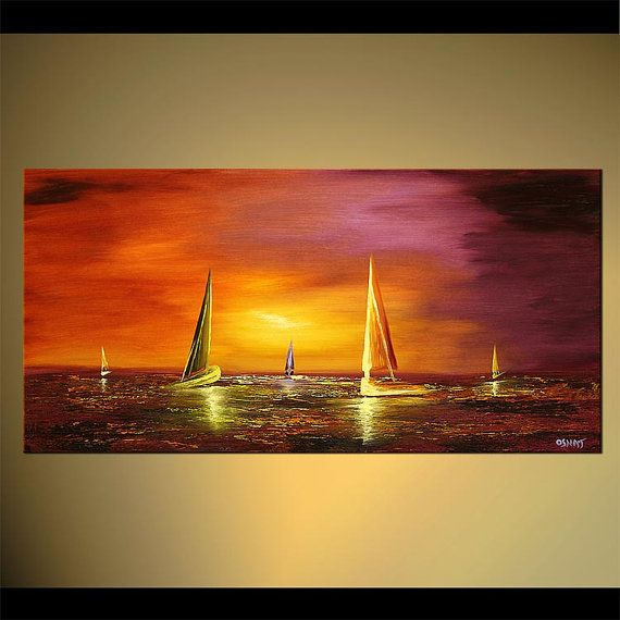 "Sailboat Painting Abstract Seascape Original Acrylic Painting by Osnat - MADE-TO-ORDER - 48""x24"""