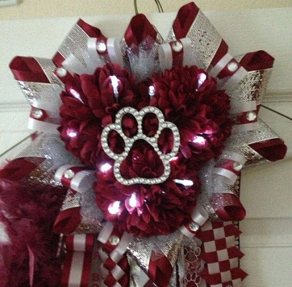 Like the use of the lights and the bling paw print - Homecoming Mum  Maroon Silver  Ready To Ship by MumAMia3 on Etsy, $155.00