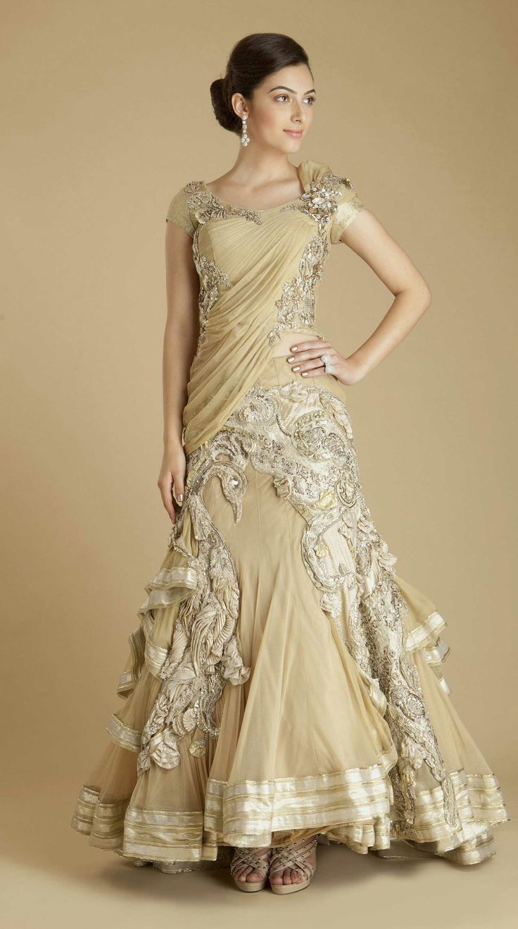 Gaurav Gupta S Gold Pea Lengha Indian Wedding Dresseswedding