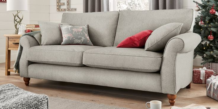 Buy Ashford Large Sofa Seats Cosy Twill Light Grey Low Turned - Ashford sofa