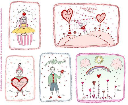 Sweet LOVE {2011 Printable Valentine Cardlettes} from A Fanciful Twist