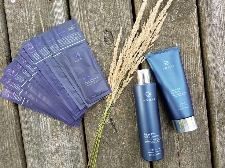 Monat goodies Renew Shampoo, Air Dry Cream, samples (With