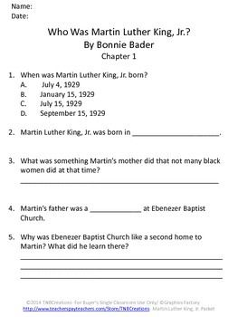 Martin Luther King Jr.: This product provides guided reading worksheets for comprehension of the wonderful book Who Was Martin Luther King, Jr.? by Bonnie Bader. This product is perfect for your students to learn all about Martin Luther King, Jr.!
