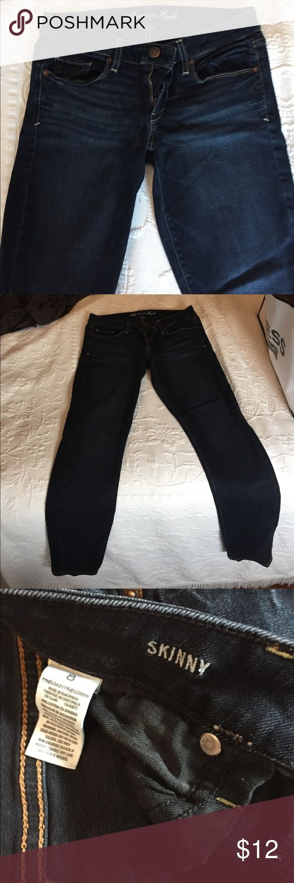 Dark blue jenas Mercian eagle skinny dark jeans. Maybe worn once or twice, in perfect condition American Eagle Outfitters Pants Skinny