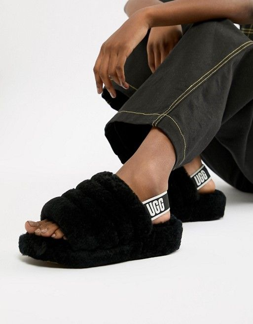 0616d3e415e UGG Black Fluff Yeah Slides in 2019 | Надо купить | Uggs, Black uggs ...