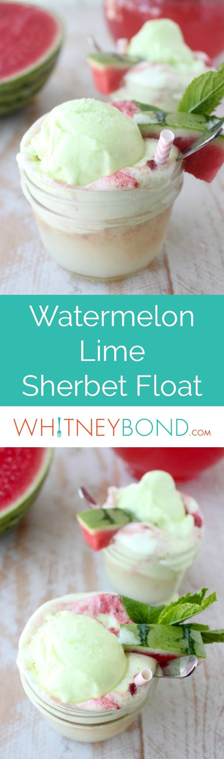 Fresh watermelon and mint are combined with lemon lime soda and poured over lime sherbet in this delicious sherbet float recipe, perfect for spring and summer! Serve in half pint mason jars with tasting spoons from @worldmarket. #WorldMarketTribe