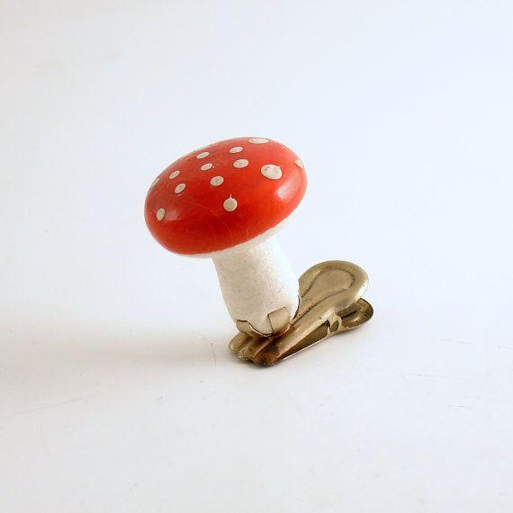 Vintage Christmas Ornament Clip op paddestoel Ornament gesponnen katoen paddestoel