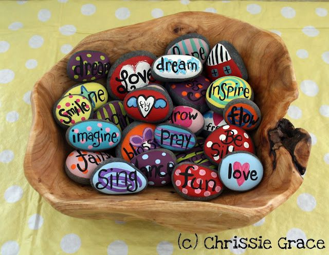 Painted Rocks. This would be fun to do with the kids :)