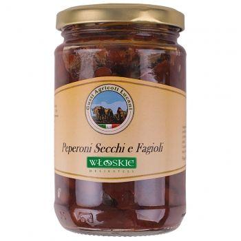 Fasolka Sarconi ze smażoną, a następnie suszoną papryką, zanurzone w oliwie z oliwek extra vergine z odrobiną przypraw. Idealna jako przystawka sama w sobie jak i dodatek do sałatek i wszelakich potraw na bazie makaronu.