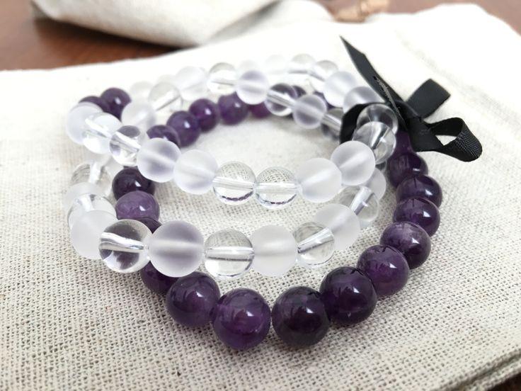 Amethyst and Clear Quartz Bracelet Set