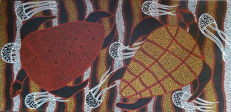 """Turtles and Jellyfish"" 2000, acrylic on canvas 84 x 38 cms."