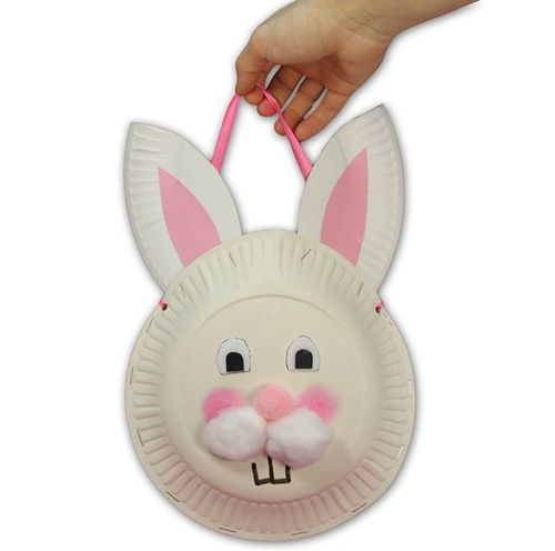 #Easter Bunny Basket- great #craft ideas for the #kids. #DIY #lushome.  To fit full size egg,  staple a grocery plastic bag on inside would b cute