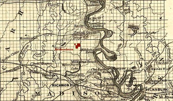 Brokenburn Plantation on 1863 map of Milliken's Bend area of Madison Parish, Louisiana
