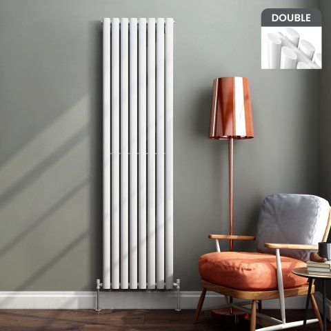 Ember Vertical Oval Tube Contemporary Gas Radiator in White 1800mm x 480mm - soak.com