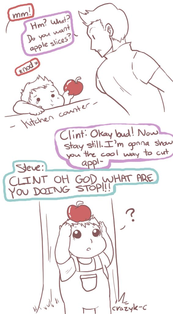 "Anon requested a picture of toddler Peter standing with an apple on his head for Clint to shoot @_@""Luckily Steve shows up RIGHT in time, and he is not impressed xD (aka this was the last time Clint was allowed to babysit unsupervised)"