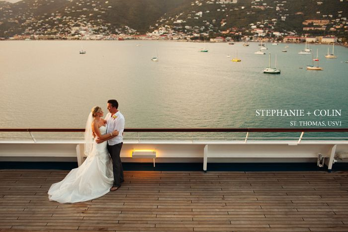 A St Thomas wedding, with the ceremony on the majestic Lindquist Beach, and reception on a Carnival cruise ship at sea. The perfect destination wedding.