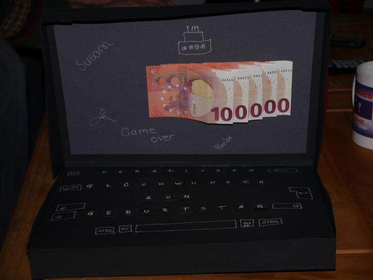 geldgeschenk laptop money present gift geschenke. Black Bedroom Furniture Sets. Home Design Ideas