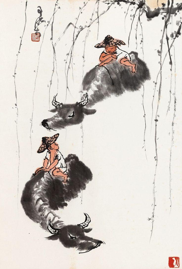 Li Keran(b. 1907~1989) HERDING BUFFALO Hanging scroll; ink and colour on paper 李可染(b. 1907~1989) 牧牛圖 立軸 設色紙本  68 x 46 cm. 26 3/4 x 18 1/8 in. 約2.8平尺  鈐印:染、肖形印 題識:可染。