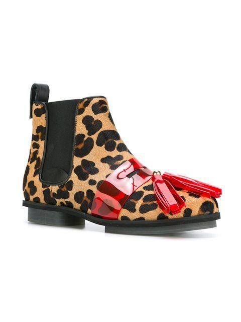 House Of Holland ботинки челси с леопардовым узором и кисточками